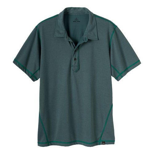 Mens Prana Crux Polo Short Sleeve Technical Tops - Dusty Teal L