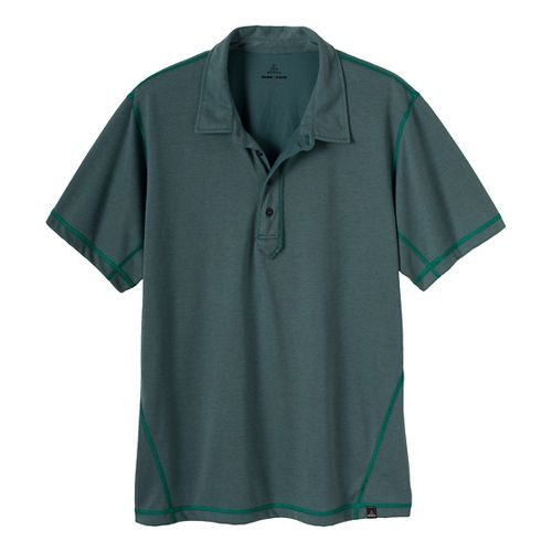 Mens Prana Crux Polo Short Sleeve Technical Tops - Dusty Teal XXL