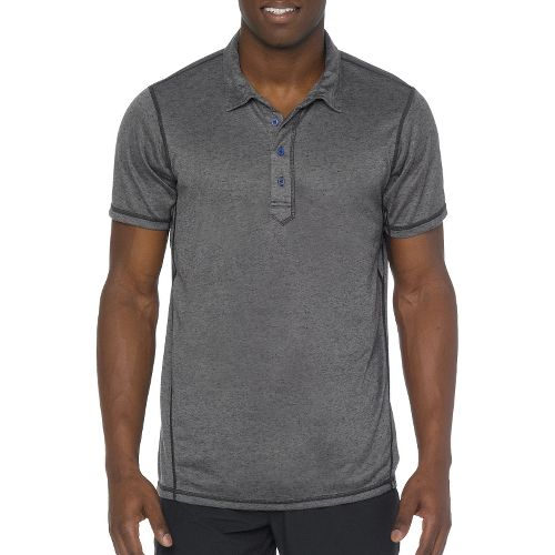 Mens Prana Crux Polo Short Sleeve Technical Tops - Gravel L