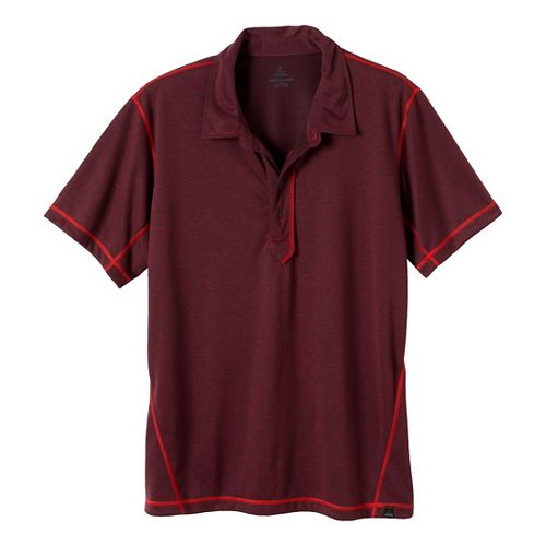 Mens Prana Crux Polo Short Sleeve Technical Tops - Rich Cocoa L