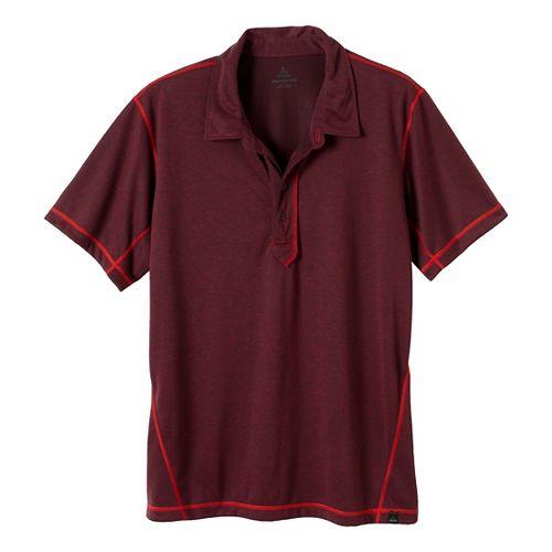 Mens Prana Crux Polo Short Sleeve Technical Tops - Rich Cocoa S