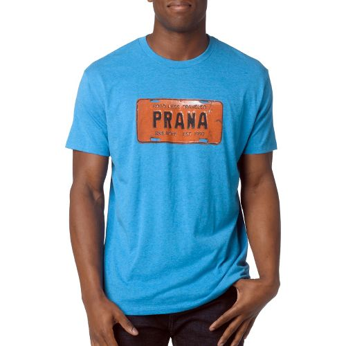 Mens Prana Drive Short Sleeve Non-Technical Tops - Turquoise Heather S