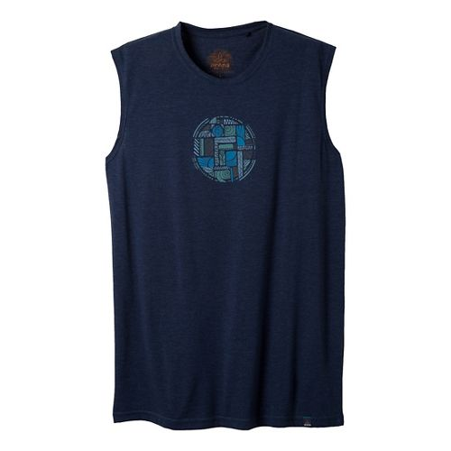 Mens Prana Elements Sleeveless Non-Technical Tops - Dress Blue M