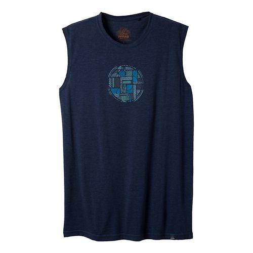 Mens Prana Elements Sleeveless Non-Technical Tops - Dress Blue S