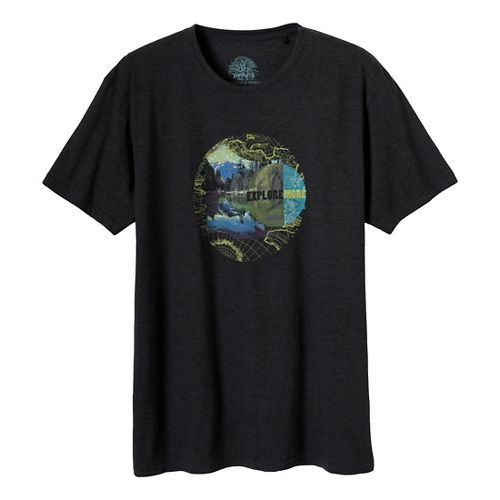 Mens Prana Explore Short Sleeve Non-Technical Tops - Black L