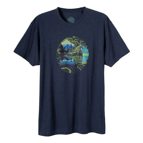 Mens Prana Explore Short Sleeve Non-Technical Tops - Dress Blue M