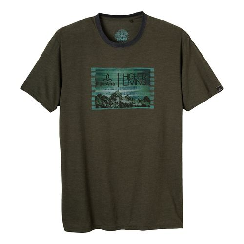 Mens Prana Higher Living Short Sleeve Non-Technical Tops - Dark Olive L