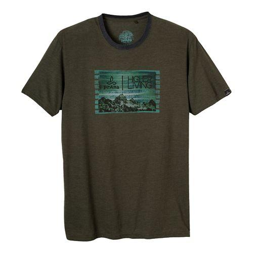 Mens Prana Higher Living Short Sleeve Non-Technical Tops - Dark Olive XL