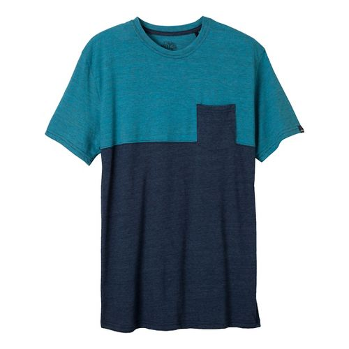 Mens Prana Ian Pocket Crew Short Sleeve Non-Technical Tops - Dress Blue L