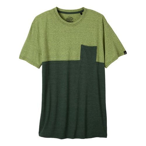Mens Prana Ian Pocket Crew Short Sleeve Non-Technical Tops - Pine Needle XL