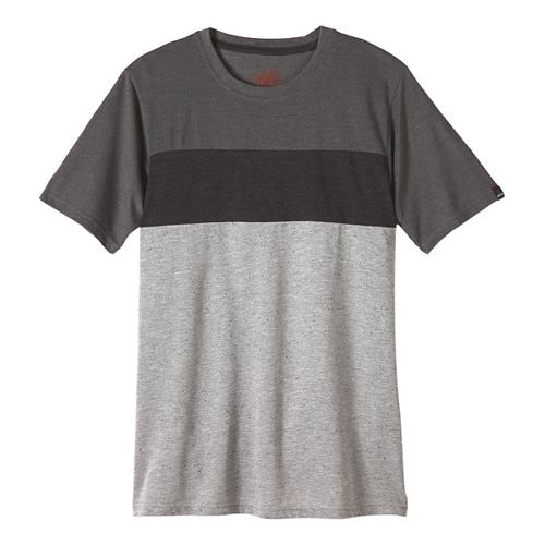Mens prAna Jax Crew Short Sleeve Non-Technical Tops - Gravel M