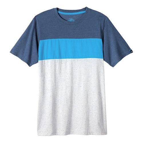 Mens prAna Jax Crew Short Sleeve Non-Technical Tops - Blue Ash XL