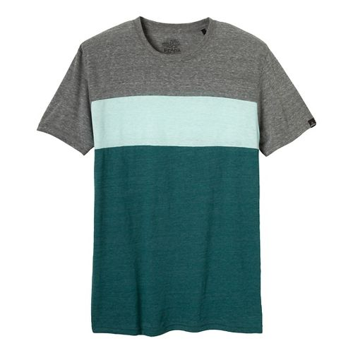 Mens Prana Jax Crew Short Sleeve Non-Technical Tops - Deep Teal S