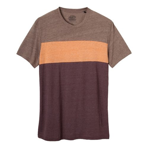 Mens Prana Jax Crew Short Sleeve Non-Technical Tops - Mahogany S