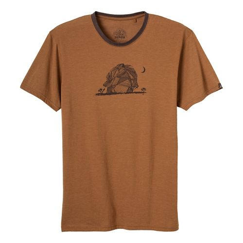 Mens Prana Joshua Tree Short Sleeve Non-Technical Tops - Dark Ginger M