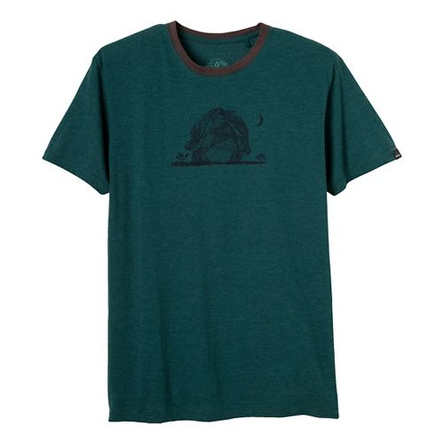 Mens Prana Joshua Tree Short Sleeve Non-Technical Tops - Deep Teal S