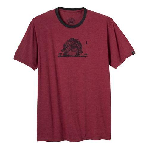Mens Prana Joshua Tree Short Sleeve Non-Technical Tops - Red Rock L
