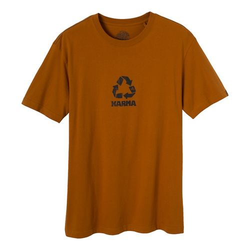 Mens Prana Karma Short Sleeve Non-Technical Tops - Burnt Sienna S