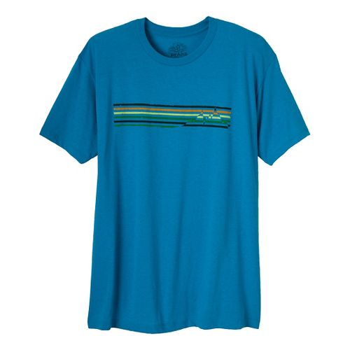 Mens Prana Mountain Short Sleeve Non-Technical Tops - Turquoise Heather M