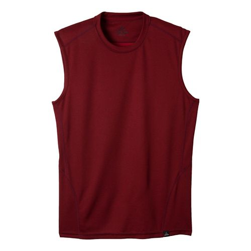 Mens Prana Orion Sleeveless Technical Tops - Mahogany S