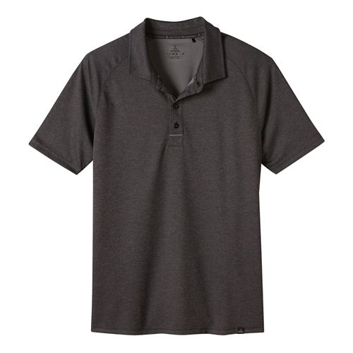 Mens Prana Orion Polo Short Sleeve Technical Tops - Charcoal M