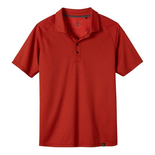 Mens Prana Orion Polo Short Sleeve Technical Tops - Fireball S