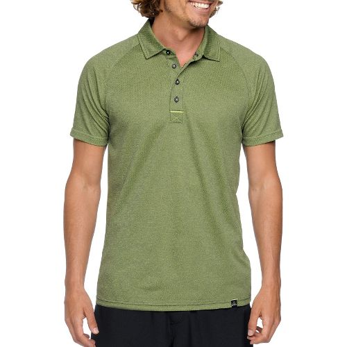 Mens Prana Orion Polo Short Sleeve Technical Tops - Pewter XL