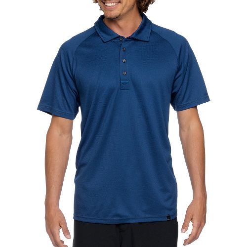 Mens Prana Orion Polo Short Sleeve Technical Tops - Pure Blue M