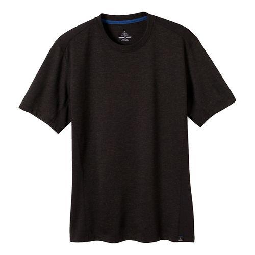 Mens Prana Porter Crew Short Sleeve Technical Tops - Black XL