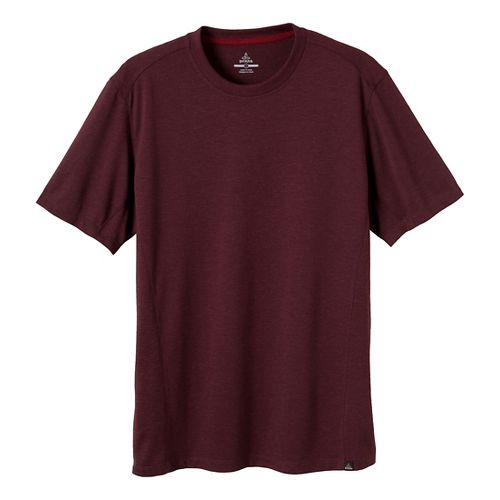 Mens Prana Porter Crew Short Sleeve Technical Tops - Mahogany XL