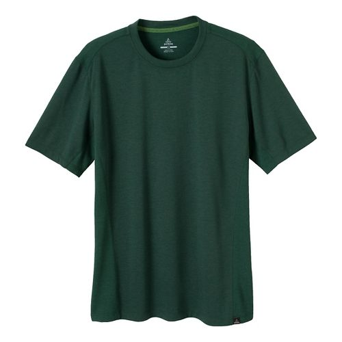 Mens Prana Porter Crew Short Sleeve Technical Tops - Pine Needle L