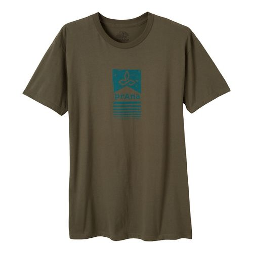 Mens Prana Raised Bar Short Sleeve Non-Technical Tops - Military Green S
