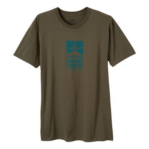 Mens Prana Raised Bar Short Sleeve Non-Technical Tops - Military Green XXL