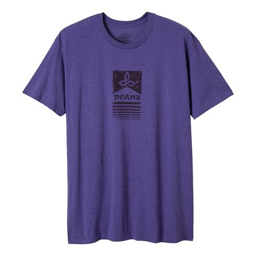 Mens Prana Raised Bar Short Sleeve Non-Technical Tops - Purple Heather L