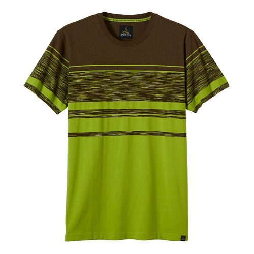 Mens prAna Throttle Crew Short Sleeve Non-Technical Tops - Green L