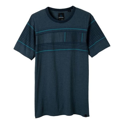 Mens Prana Throttle Crew Short Sleeve Non-Technical Tops - Blue Yonder S