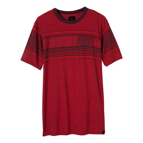 Mens Prana Throttle Crew Short Sleeve Non-Technical Tops - Crimson XXL