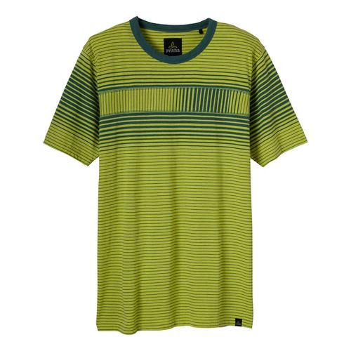 Mens Prana Throttle Crew Short Sleeve Non-Technical Tops - Wild Lime L