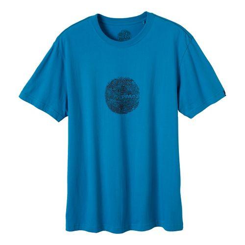 Mens Prana Thumb Print Short Sleeve Non-Technical Tops - Caribbean Sea L