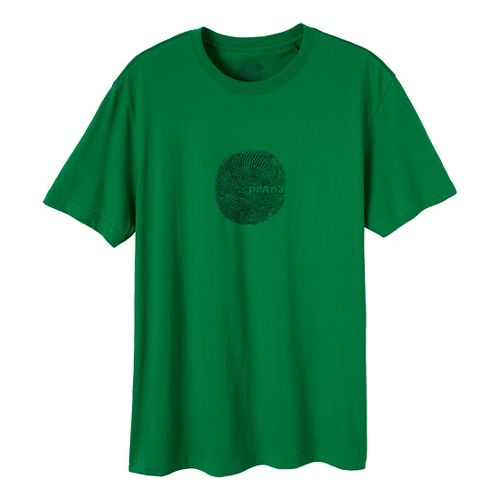 Mens Prana Thumb Print Short Sleeve Non-Technical Tops - Kelly Green L