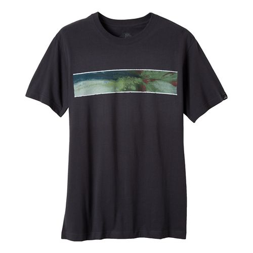 Mens Prana Wood Short Sleeve Non-Technical Tops - Charcoal XXL