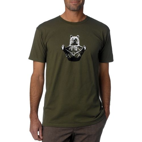 Mens Prana Yogi Short Sleeve Non-Technical Tops - Military Green S