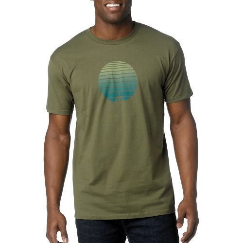 Mens Prana Zen Short Sleeve Non-Technical Tops - Military Green L