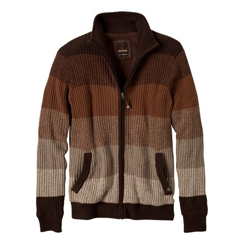 Mens Prana Aukland Full Zip Outerwear Jackets - Brown XXL