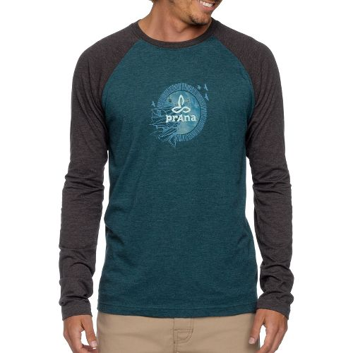 Mens Prana Cliff Long Sleeve Non-Technical Tops - Dark Olive L