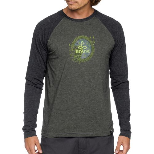 Mens Prana Cliff Long Sleeve Non-Technical Tops - Deep Teal M