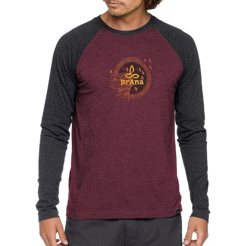 Mens Prana Cliff Long Sleeve Non-Technical Tops - Mahogany S