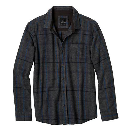 Mens Prana Felix Flannel Long Sleeve Non-Technical Tops - Charcoal L