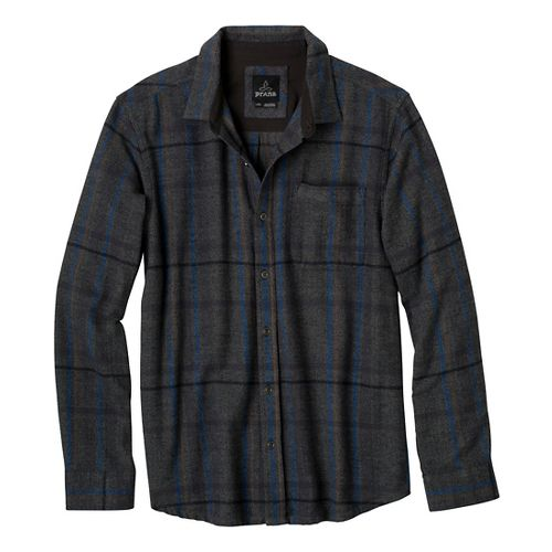 Mens Prana Felix Flannel Long Sleeve Non-Technical Tops - Charcoal XL