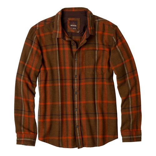 Mens Prana Felix Flannel Long Sleeve Non-Technical Tops - Dark Ginger XL